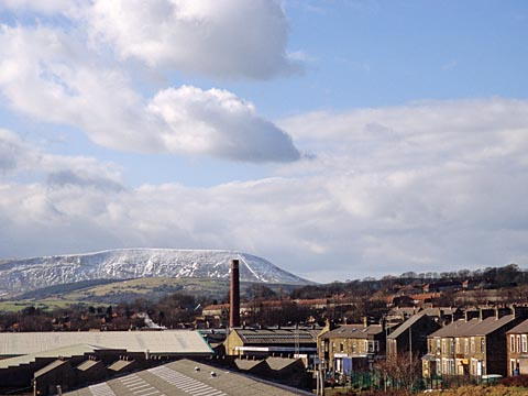 Colne looking towards pendle Hill